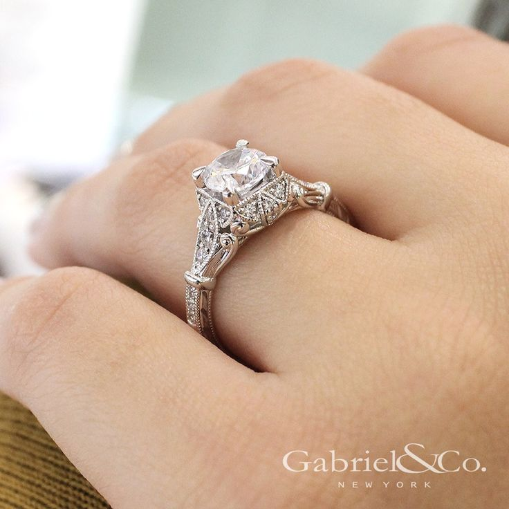 Gabriel NY - Voted #1 Most Preferred Fine Jewelry and Bridal Brand. 14k White Gold Round Halo Engagement Ring