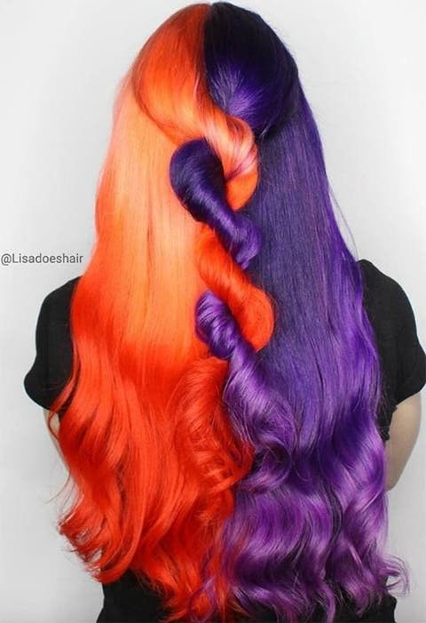 Orange Purple Split Dye Halloween Hair In 2020 Halloween Hair Split Hair Orange Hair