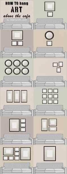"""Art above the sofa. Eight to ten inches above the sofa (9"""" ideal); 2-2.5 inches between wall items."""