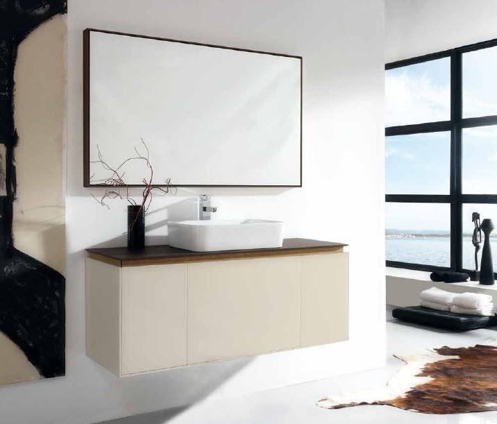 Encimeras Baño Wengue: Encimera cristal 120×46 acabado hydra wengue Lavabo cerámico Espejo