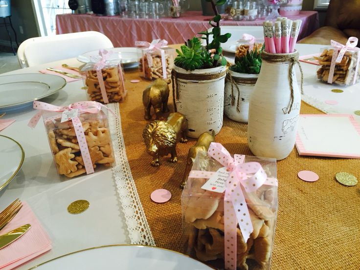 Pink and Gold Safari Baby Shower Animal Cracker Favors