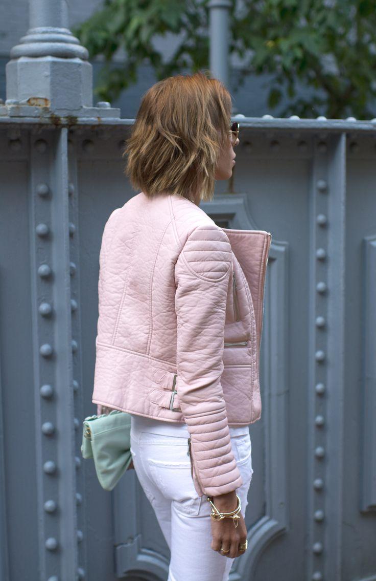 Pastel pink leather biker jacket
