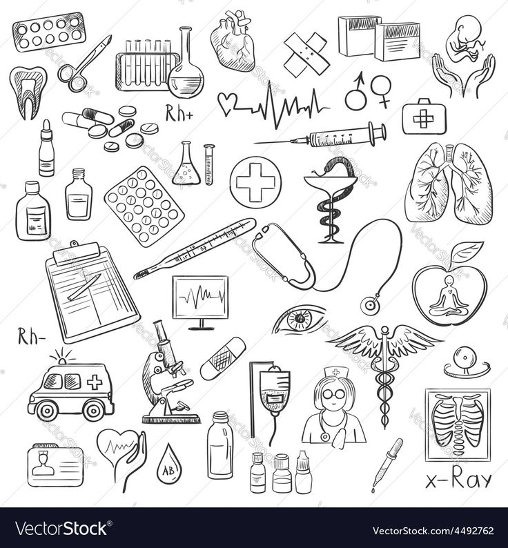 Vector image of Health care and medicine doodle Vector Image, includes drawing, sketch, icon, simple & bottle. Illustrator (.ai), EPS, PDF and JPG image formats.