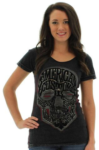 Affliction AC Wordskull Women's T-Shirt Tee