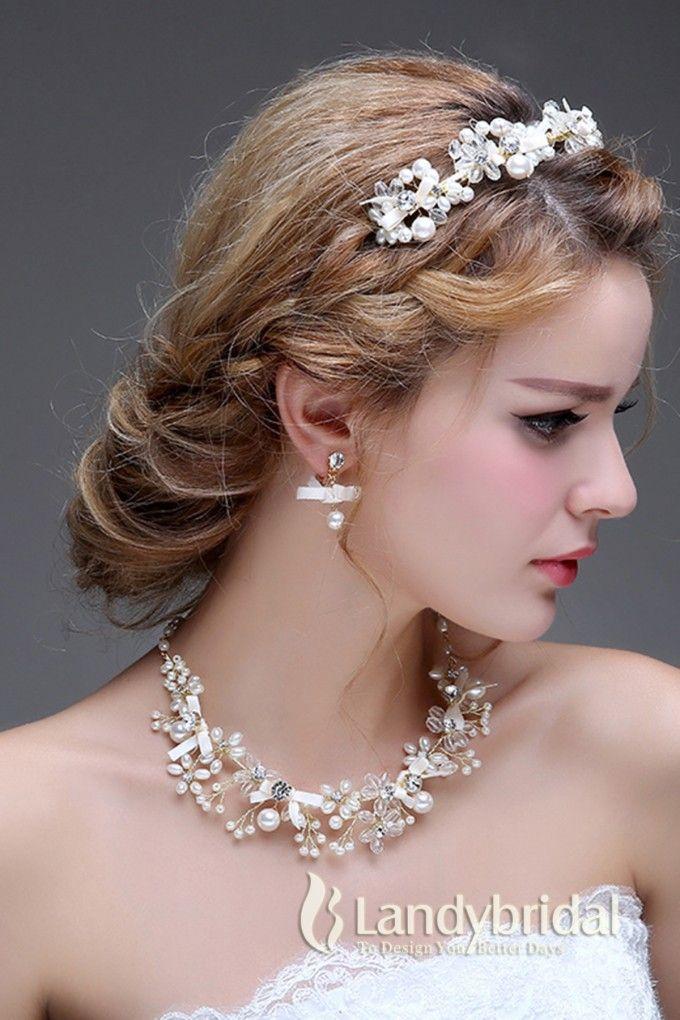 アクセサリー ティアラ イヤリング ネックレス 自然風 繊細なデザイン ウェディング小物 結婚式 花嫁 JJ001500E