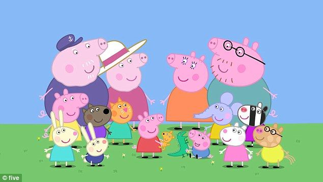 Peppa Pig (in red centre) with her brother George Pig (in blue centre) with her family and...