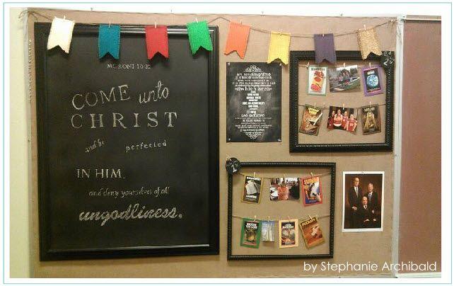 Bulletin Board Idea - I like the black frames and the chalkboard style