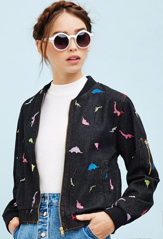 White Pepper Embroidered Dinosaur Jacket | Forever 21 - 2000130444