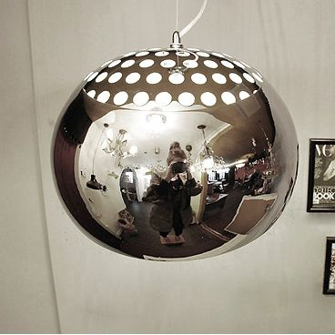 modern stainless steel mirror ball ceiling light pendant 1. Black Bedroom Furniture Sets. Home Design Ideas