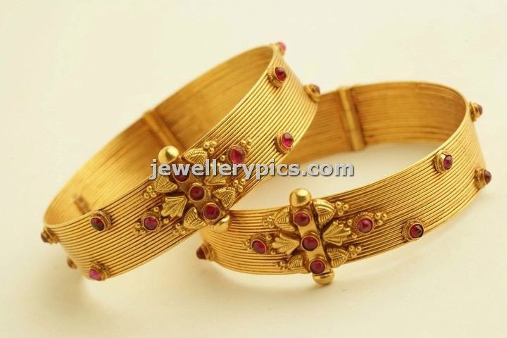 Antique bangle designs by PNG jewellers temple collection - Latest Jewellery Designs