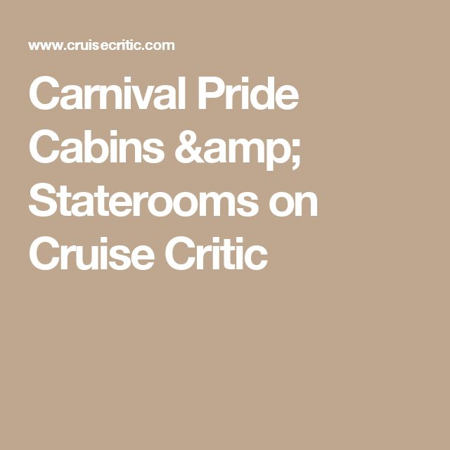 Carnival Pride Cabins & Staterooms on Cruise Critic