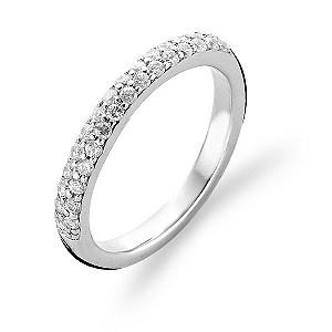 Ti Sento Milano small sterling silver  pave ring size small