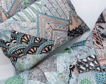 Chesa Flurina Duvet Cover and Pillows by Pol Kip.  Handrawn inspiration from the Swiss Alps reproduced on Italian Satin cotton