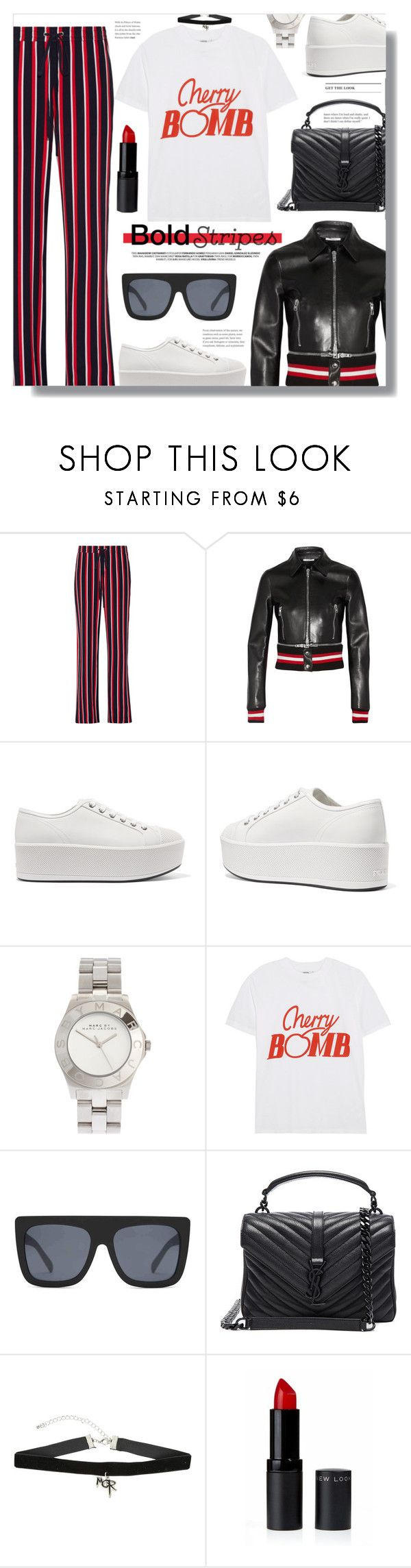 """""""BOLD Stripes"""" by chocolate-addicted-angel ❤ liked on Polyvore featuring Markus Lupfer, Givenchy, Prada, Marc by Marc Jacobs, Ganni, Quay, Yves Saint Laurent and Hot Topic"""