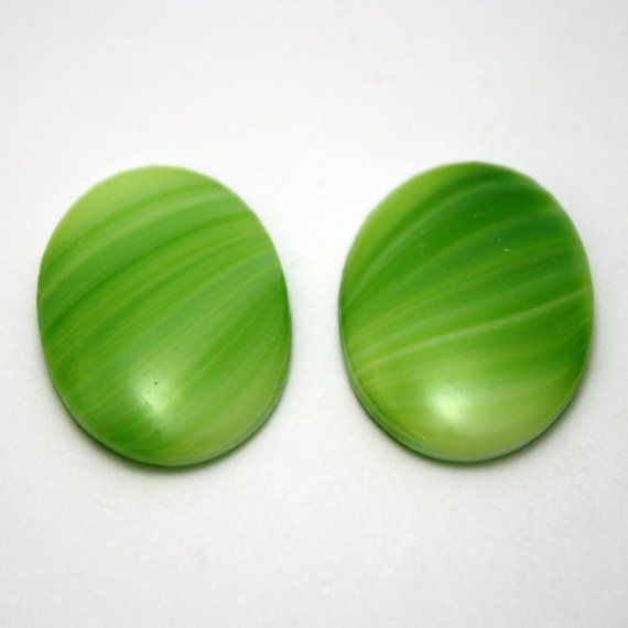 2 Vintage Glass Oval White and Green Cabochons  by ThisPurplePoppy