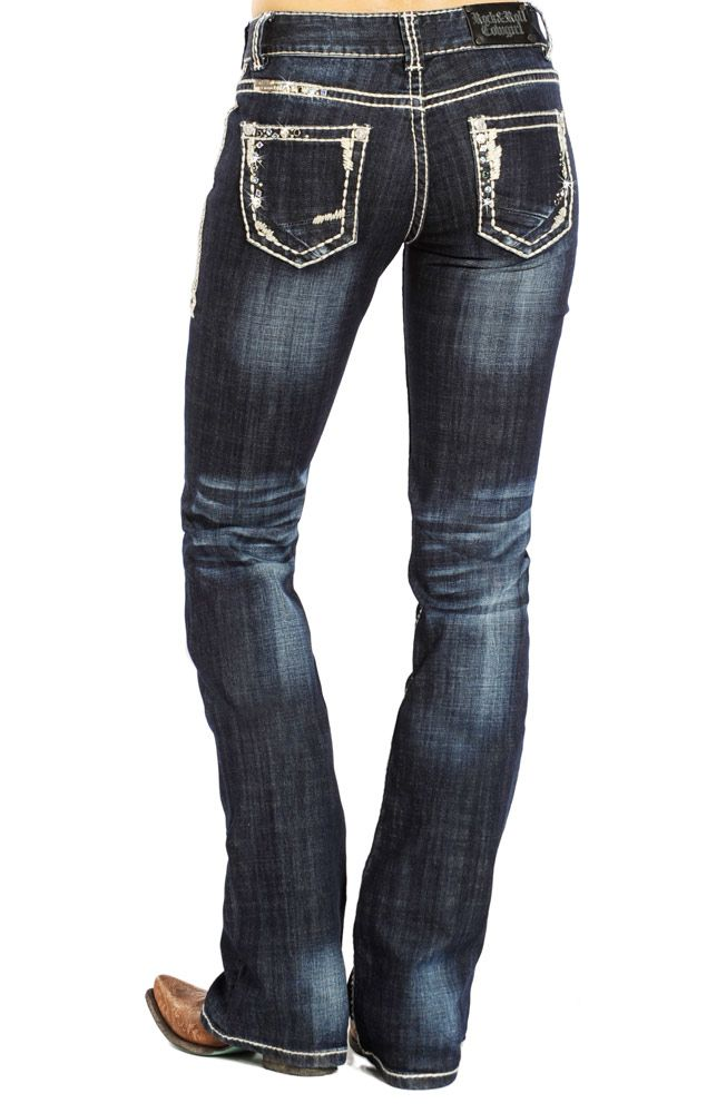 ladies western jeans with bling | ... Ladies Dark Vintage Ivory Top Stitching with Blue Rhinestones Mid Rise