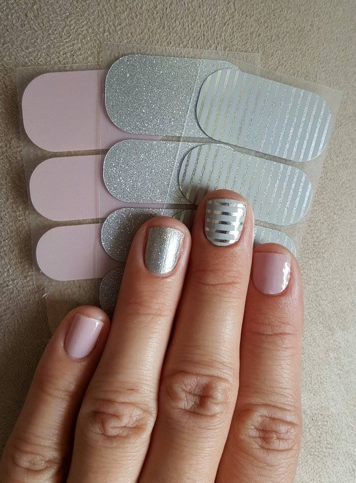 Jamberry Nails Jamicure created with daydream (glossy), diamond dust sparkle, and gray & silver stripe. Always buy 3, get 1 free! http://allisonmaffettone.jamberrynails.net/
