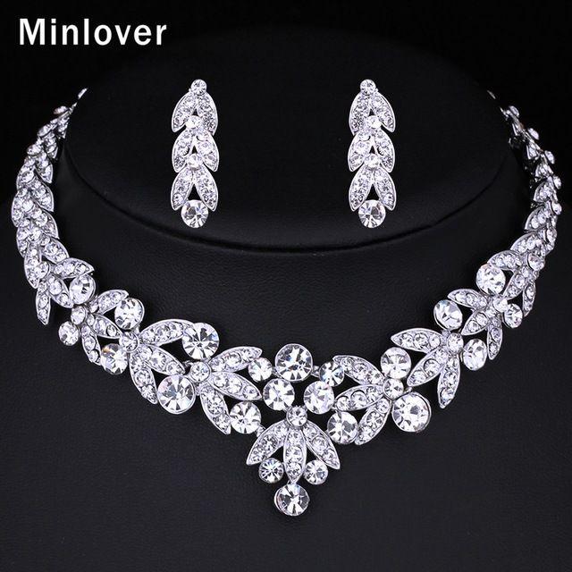 Minlover Cor Prata Cristal Nupcial Conjuntos de Jóias Forma De Folha Gargantilha Colar Brincos De Jóias de Casamento para As Mulheres TL206