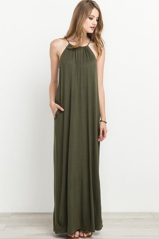 Simple Olive Green Halter Maxi Dress