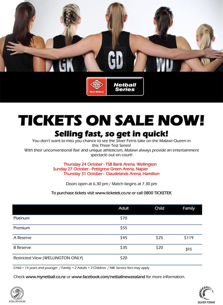 Tickets selling fast to the 2013 Silver Ferns vs Malawi #SilverFerns