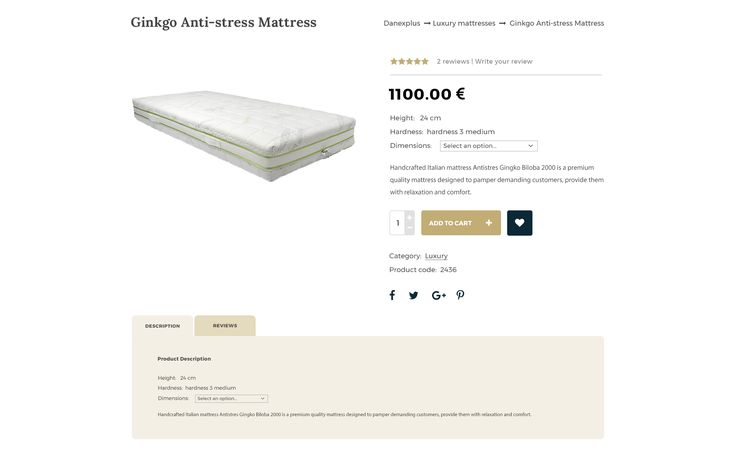 Web Design for Online store with Luxury mattresses