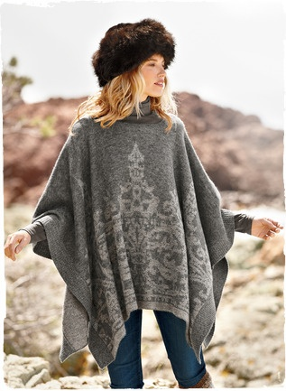 Patterned in a filigree inspired by Moorish ironwork, our soft grey-and-sand poncho is an effortless knit layer of brushed baby alpaca (60%), nylon (35%) and merino wool (5%). Ribbed trim on the sides and rounded neckline.   Peruvianconnection.com $139