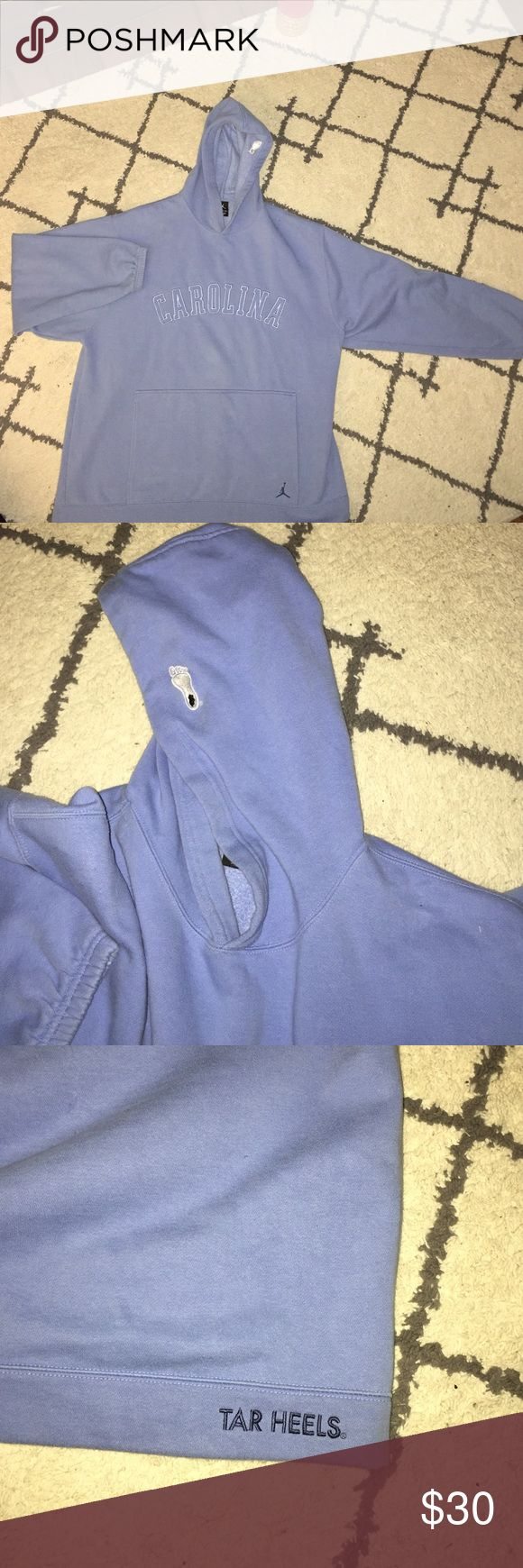 Rare Retro Jordan UNC Hoodie Super rare Jordan fleece Hoodie from 2001.  Great condition especially considering its age. Embroidered Carolina on front with Tarheel on the hood. Elastic in sleeves!!! A must for the UNC or Jordan fan! Make an offer!!! Jordan Shirts Sweatshirts & Hoodies