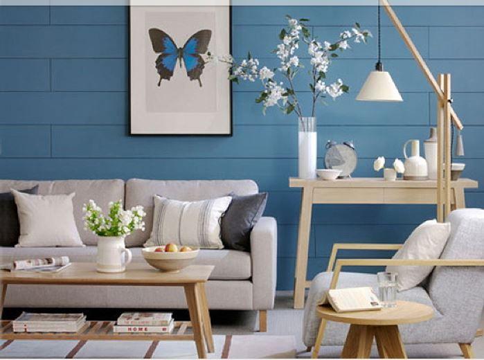 Creare un Soggiorno classico/moderno: azzurro e legno noce ...
