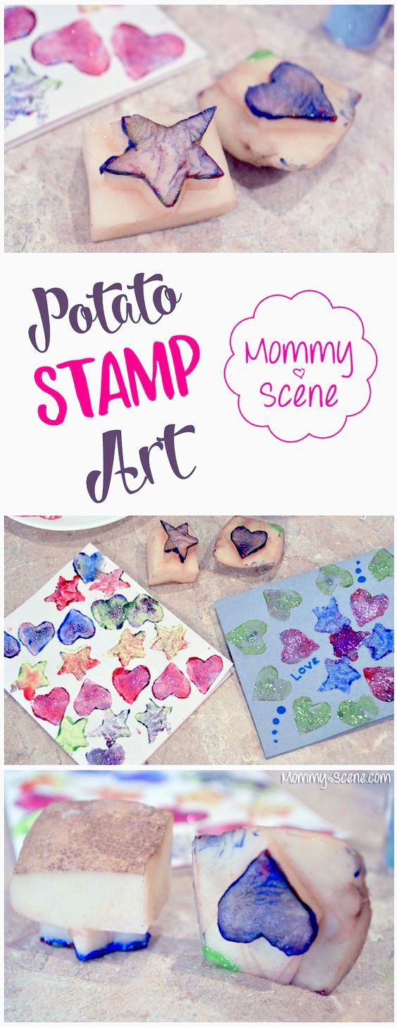 Potato stamp shapes are a fun way to make Valentines or holiday cards with your kids! All you need is a potato, knife, paint, paper and a little creativity!