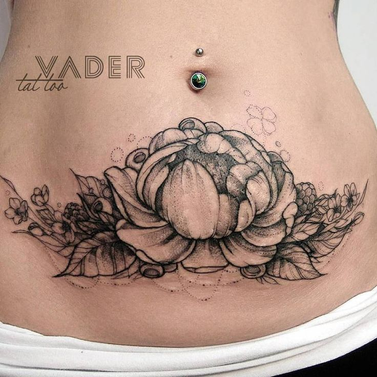 Peony tattoo on Tanya's stomach to hide stretch marks. 3 hour session. Done by Tatiana Vader at Workplace Tattoo