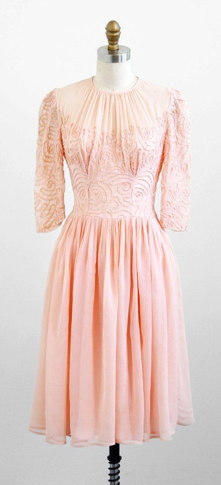 Party Dress: ca. 1930's, sheer netting over lining, soutache trim on bodice.