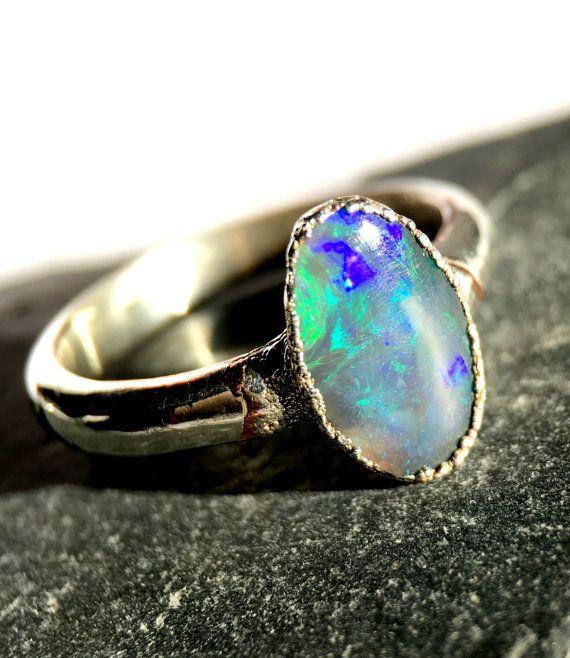 Silver Electroformed Australian Lightning Ridge Black Opal