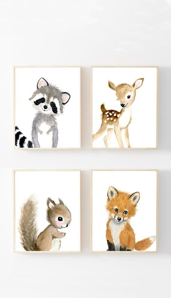 Nursery woodland Print Set 4, Neutral Nursery Art , Nursery Decor, Kids , nursery art,squirrel,rabbit,deer,raccoon, woodland nursery prints