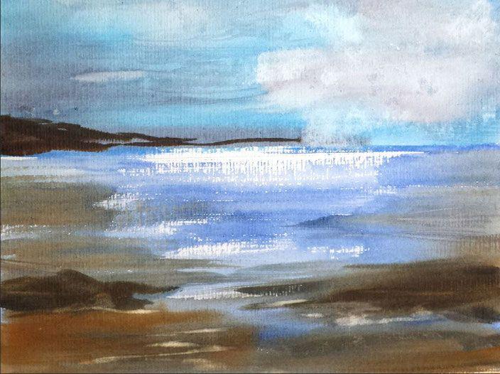 "Landschaftsaquarell ""Lust auf Meer - Regeneration, Watercolor by Jopie Bopp"