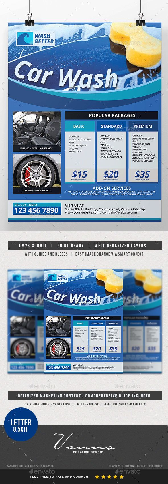 Car Wash Services #Flyer - Commerce Flyers Download here: https://graphicriver.net/item/car-wash-services-flyer/19722516?ref=alena994