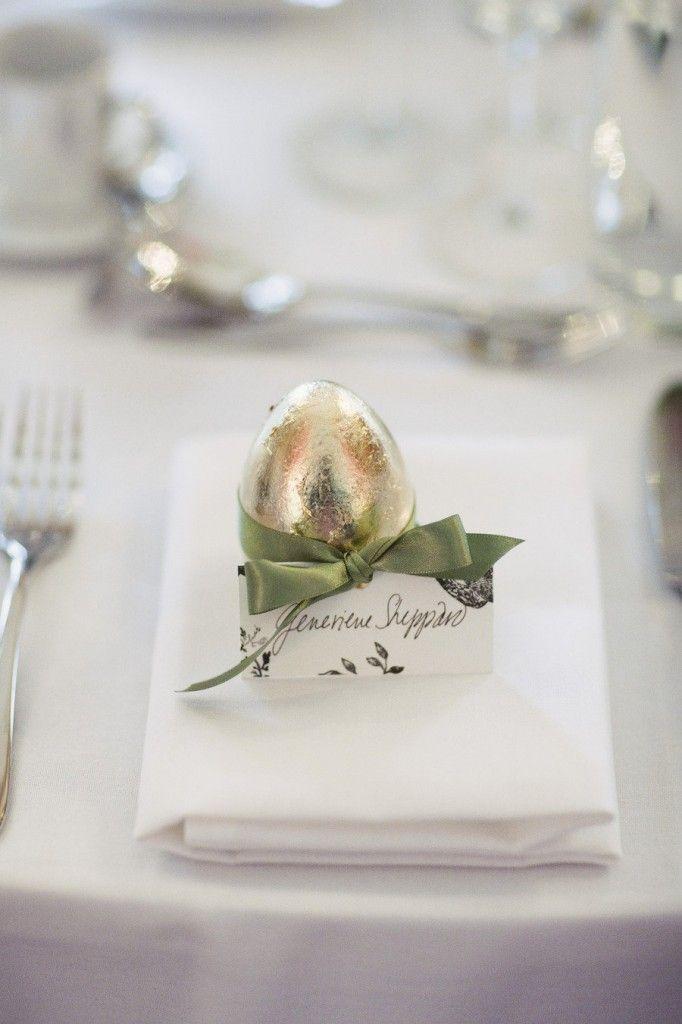 Moss Green Satin or Velvet Ribbon/Gold Egg