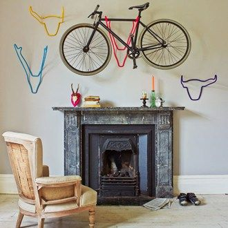 Keep your bicycle out of the way and make a stylish feature of it with a wall-mounted bike rack
