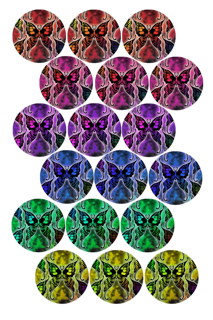 """Crazy Mad Butterflies"" Bottle cap image pack  Formatted for printing on 4"" x 6"" photo paper"
