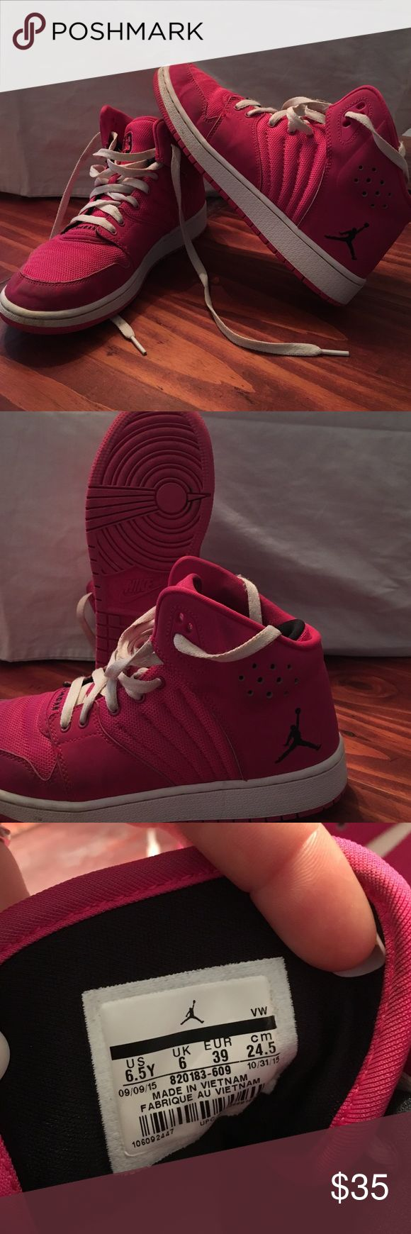 Pink Jordan tennis shoes Pink and white Jordan's size 6.5 just needs a little cleaning on outside never been wet daughter just doesn't like them anymore and didn't wear them but a few times Jordan Shoes Athletic Shoes