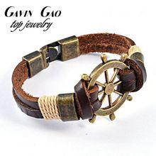 Aço inoxidável de alta qualidade novo 2015 moda Vintage leme charme pulseira de couro de vaca para homens presente(China (Mainland))