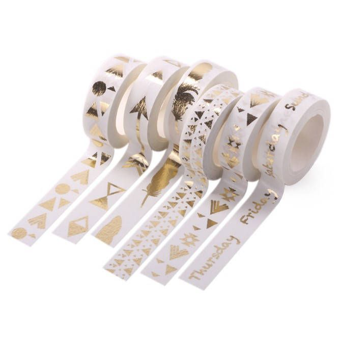 Gold Foil Washi Tapes Planner Journal Craft Scrapbooking Decoration Masking Tape Japanese Washi Tape Paper Tape Washi Tape