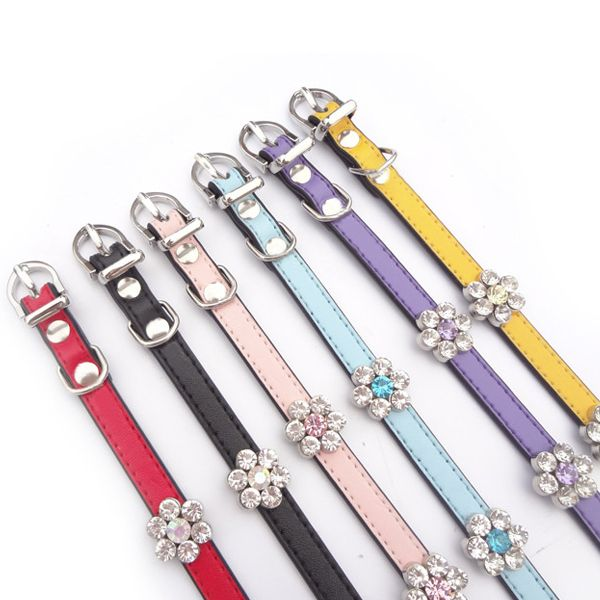 Rhinestone Bling--Bling Flower Pet Dog Cat Leather Collar