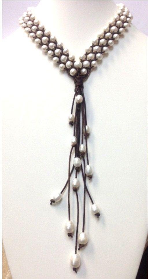 VENTA perlas de agua dulce y collar de cuero MaLai por AdiDesigns