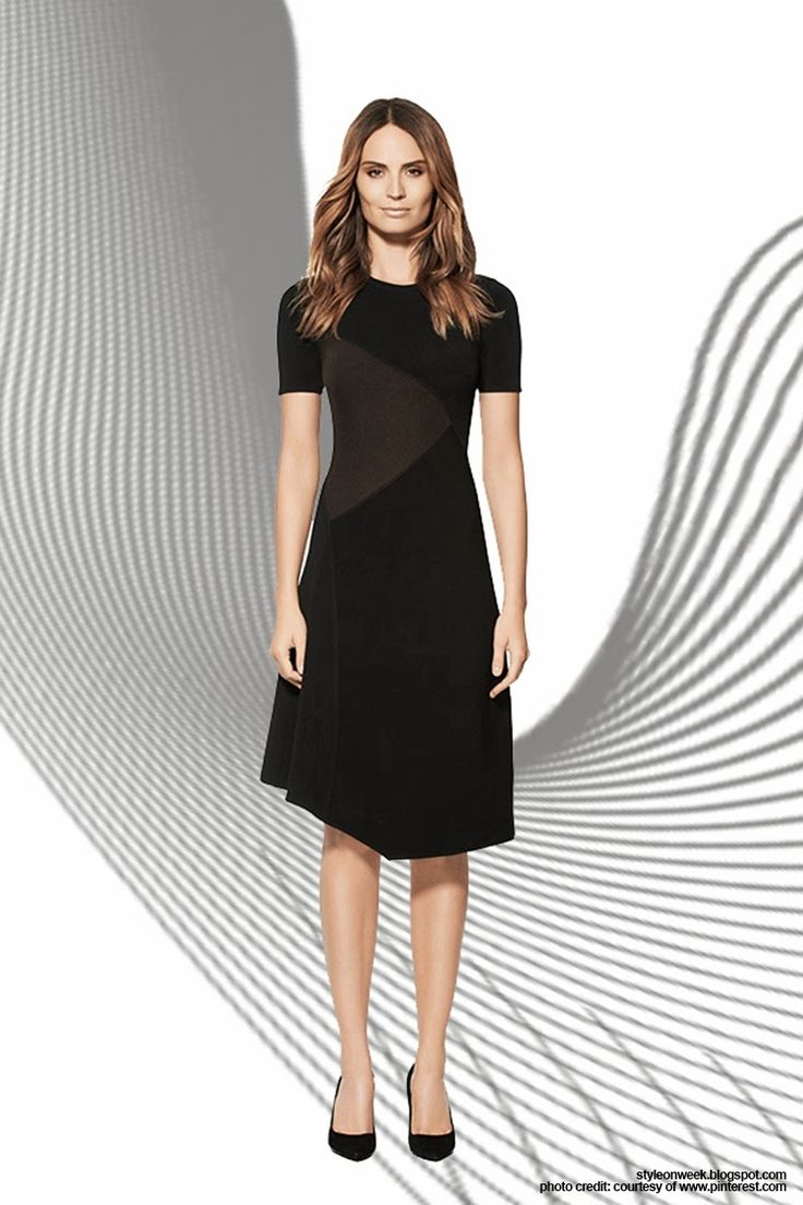 Simple Pieces for Your Office Wardrobe Update. The LBD gets a fashion-forward makeover with figure-flattering geometric details and an asymmetrical hem. And yes, brown and black is just fine. Lexham Dress, $425 at Judith & Charles