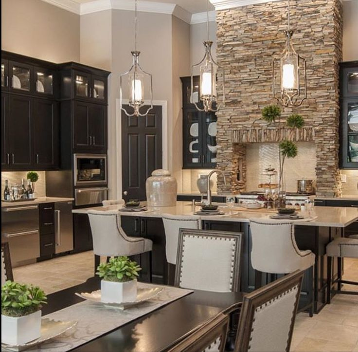 Love The Statement Stone Work In The Kitchen And The Dark Contrast Of The  Cabinets. (By Masterpiece Design Group) Part 67