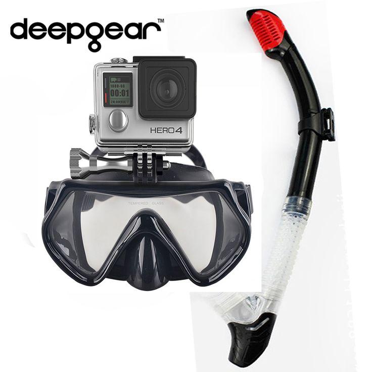 Deepgear Camera scuba mask snorkel set One window tempered glass scuba mask to Gopro Hero XIAOMI SJCAMERAS dry snorkel dive gear