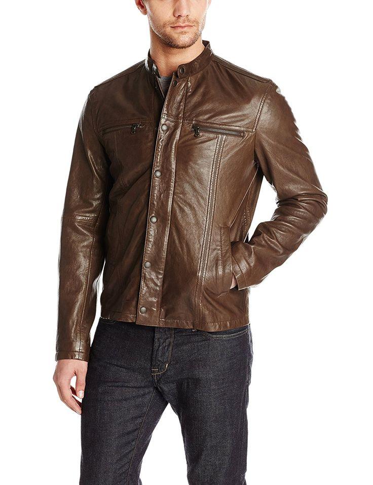 John Varvatos Star USA Men's Leather Racer Jacket, Earth Brown, Large