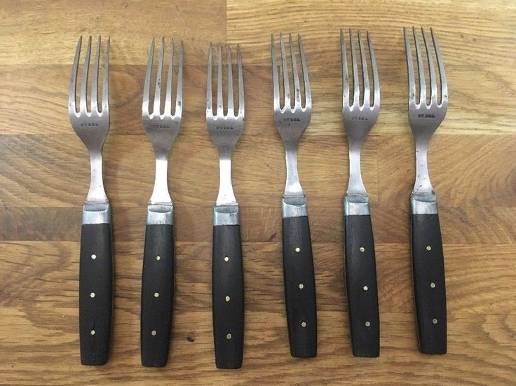 A+ antique EBONY pewter Wood Handles CARBON STEEL Forks Set vintage Lot 4 prongs  | eBay