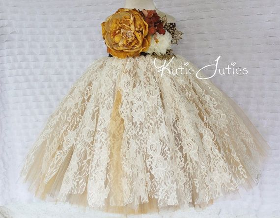 Vintage Fall Lace Ivory, Brown, Gold, Lace Tutu Dress- Flower Girl, wedding, Pageant dress, Birthday, toddler, baby girl, yellow