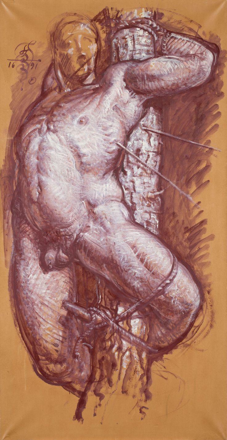 FRANCISZEK STAROWIEYSKI (1930 - 2009)  ROSYJSKI ŚW. SEBASTIAN, 1991   olej, papier, płótno / 195 x 100 cm  sygn. l.g. monogramem artysty: FS 1991